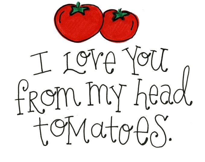 Valentine Card Pack - Love you from my Head Tomatoes | 4 Pack