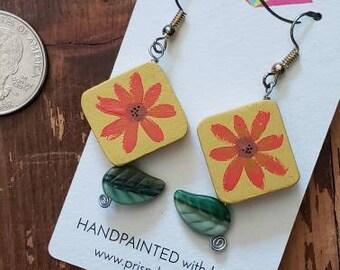 Orange on Yellow Flowers | Hand Painted Lightweight Wood Earrings
