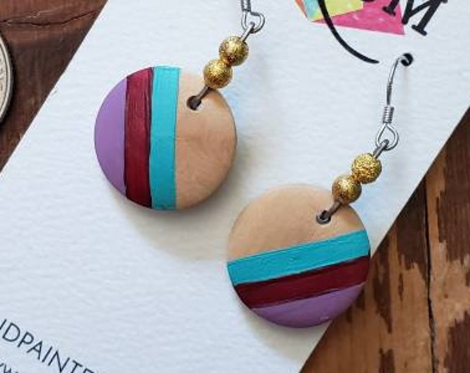 Lavender, Mulberry & Aqua Stripes | Hand Painted Lightweight Wood Earrings