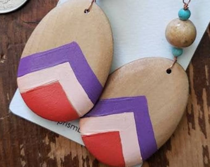 Peach, Dark Coral & Orchid   Hand Painted Lightweight Wood Earrings