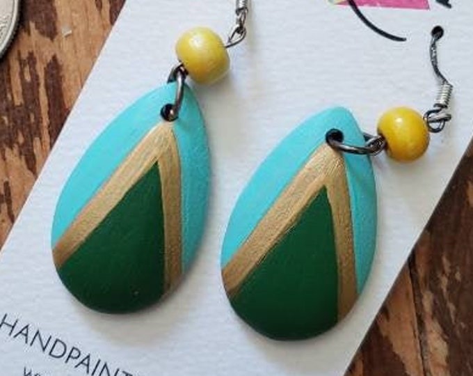 Dark Green, Aqua & Metallic Gold | Hand Painted Lightweight Wood Earrings