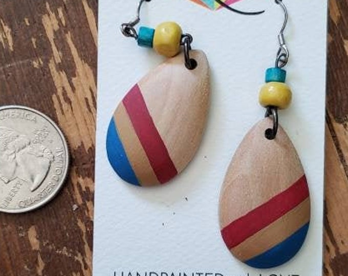 Blue, Tan & Red Stripes | Hand Painted Lightweight Wood Earrings