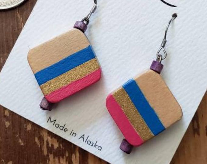 Watermelon, Metallic Gold & Bright Blue Stripes | Hand Painted Lightweight Wood Earrings