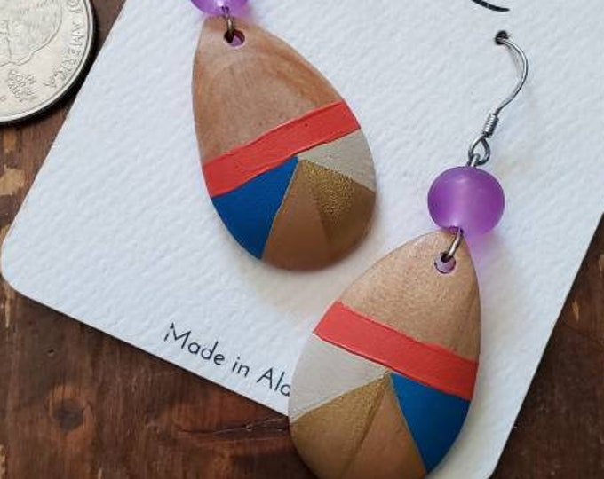 Orange, Blue, Gold, Tan & Cream   Hand Painted Lightweight Wood Earrings