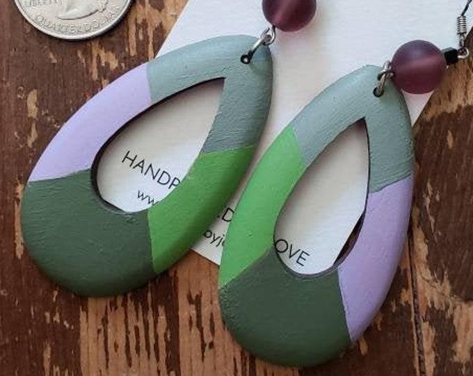 Greens, Lavender & Grey | Hand Painted Lightweight Wood Earrings