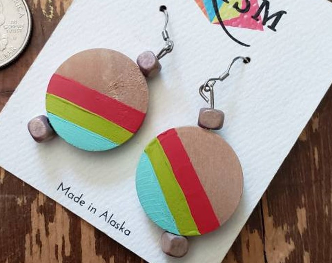 Red, Lime & Aqua Stripes | Hand Painted Lightweight Wood Earrings