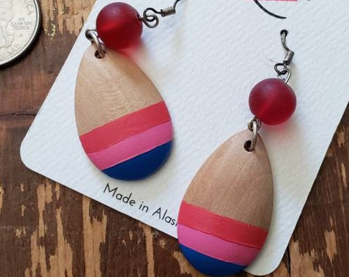 Watermelon, Pink & Bright Blue Stripes | Hand Painted Lightweight Wood Earrings