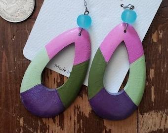 Greens, Pink & Metallic Purple | Hand Painted Lightweight Wood Earrings