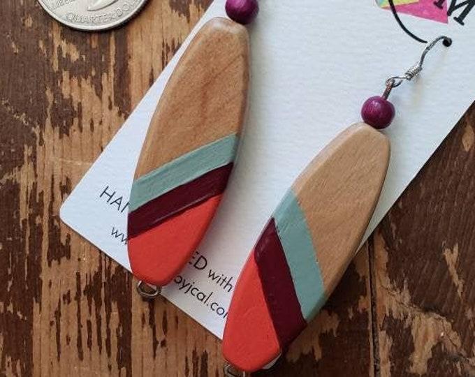Orange, Maroon & Grey Stripes | Hand Painted Lightweight Wood Earrings