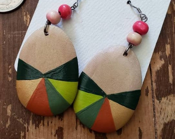Greens, Gold & Rust | Hand Painted Lightweight Wood Earrings