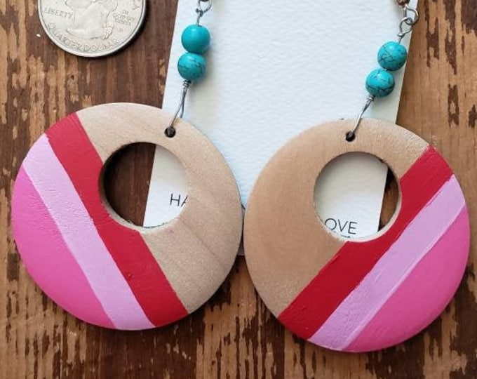 Pink Stripes | Hand Painted Lightweight Wood Earrings