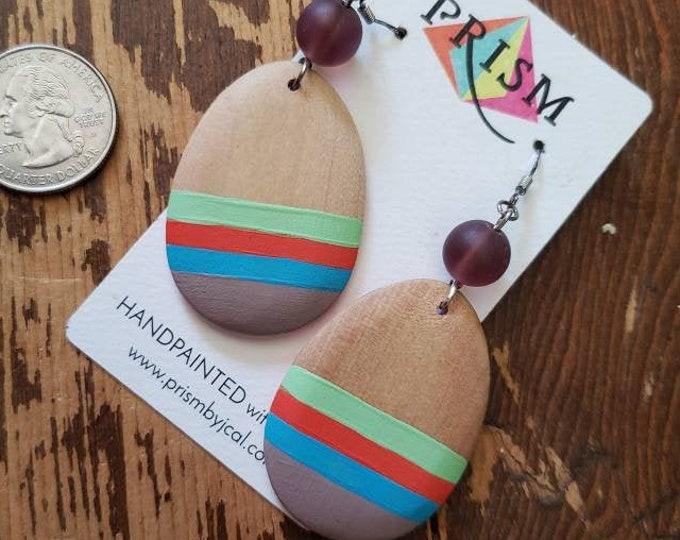 Seafoam Green, Orange, Sky Blue and Grey Stripes | Hand Painted Lightweight Wood Earrings