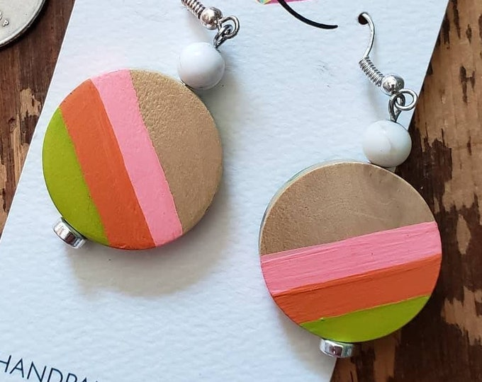 Pink, Orange & Lime Green Stripes | Hand Painted Lightweight Wood Earrings