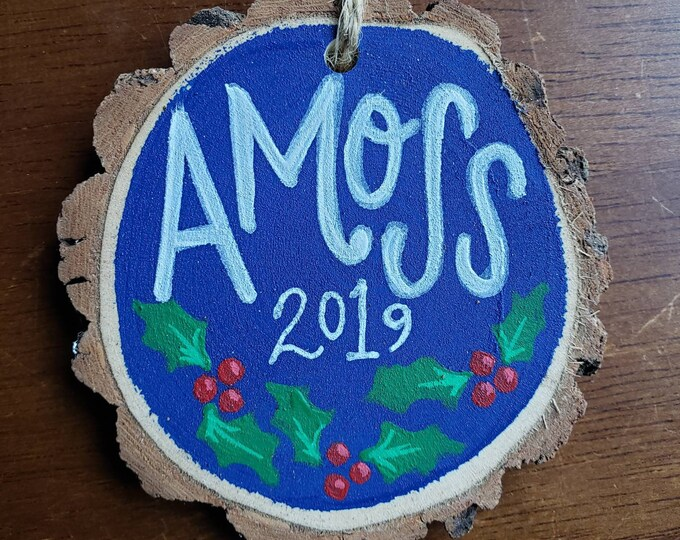 Personalized Handpainted Ornament | Holly Design