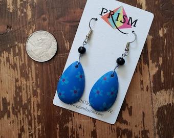 Blue Flowers LOVE Teardrop | Hand Painted Lightweight Wood Earrings