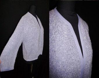 4e6f10991b Lilac Purple BOUCLE Knit Vintage 1950 s NOS Plus Size Women s Cardigan  Sweater 44B XL 2XL