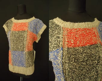 Knubby Knit Colorblock Vintage 1980's NOS Women's Capsleeved Sweater S