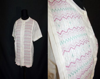 Pink SMOCKED Ruched Rockabilly Vintage 1950's Women's Blouse Shirt M 36B