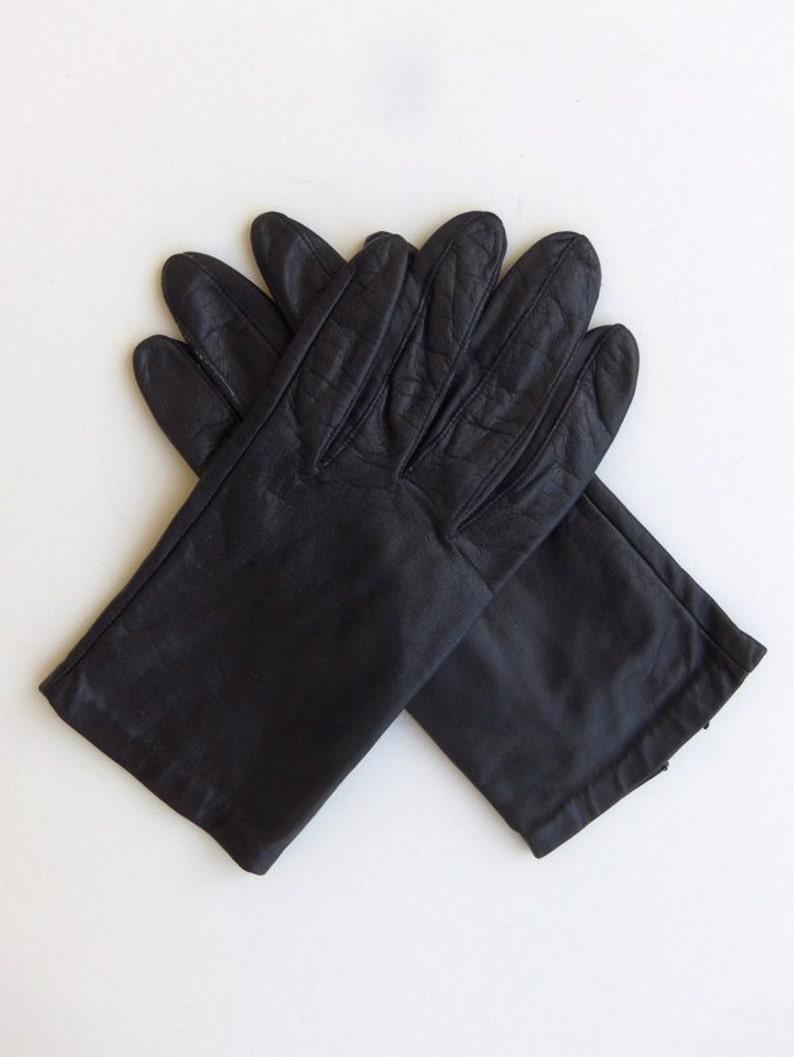 899dcdd95 Vintage 60's Women's Glove Black Leather Wrist Length | Etsy