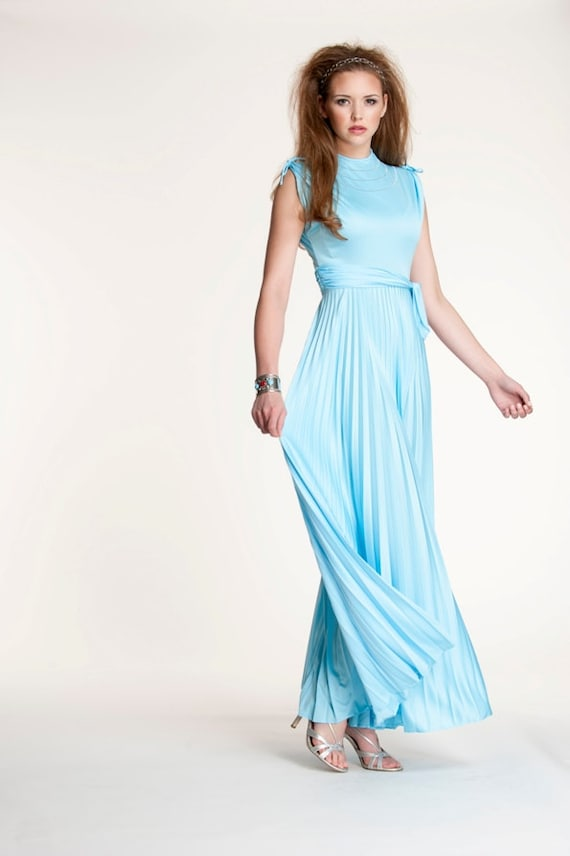 Vintage 60s 70s Dress Maxi Formal Pastel Blue Grecian Style Etsy