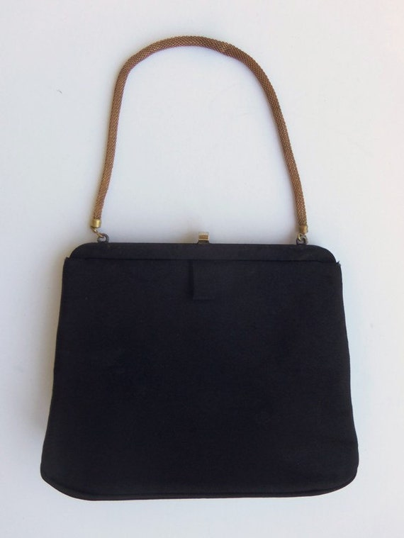 Vintage 40's 50's Handbag Evening Bag Purse Black… - image 1