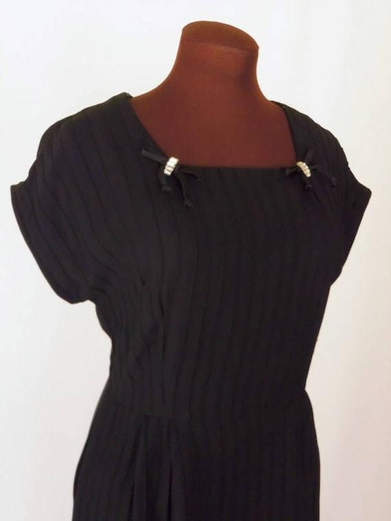 Vintage 40's 50's Little Black Dress Rayon Cocktai