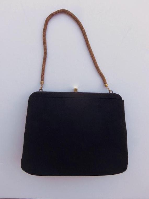 Vintage 40's 50's Handbag Evening Bag Purse Black… - image 2