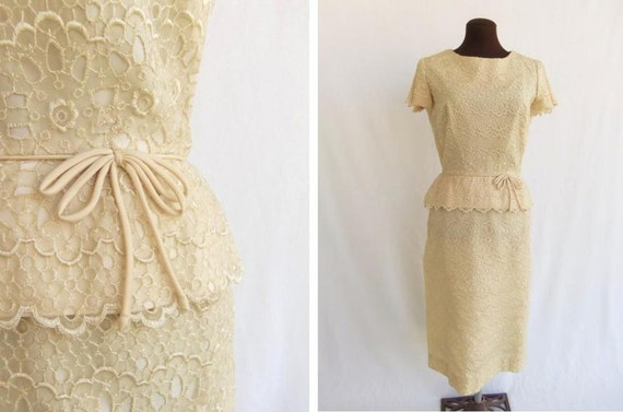 Vintage 60s Dress Sheath Party Wedding Buttery Pas