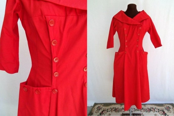 Vintage 50s Dress Red Nautical Sailor  Size XS or