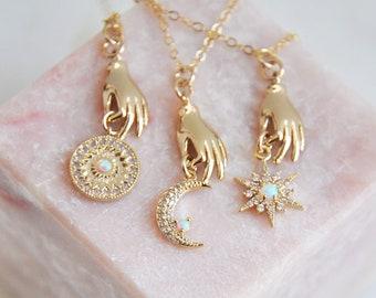 Gold Hand Necklace, Palmistry Necklace, Opal Sun Necklace, Opal Star Necklace, Opal Moon Necklace, Gold Filled Necklace, Tarot Necklace