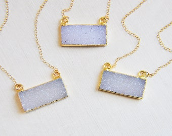 Druzy Necklace, Gold Druzy Necklace, Raw Stone Necklace, Stone Necklace, Natural Stone, Birthday Gift, Gifts for Her, Small Necklace,Boho