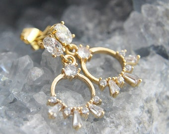 CZ Halo Earrings, Short Earrings, Boho Bride Earrings, Bridal Earrings, Art Deco Earrings, Circle Earrings, Celestial Earrings, Wedding