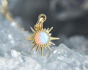 Opal Sun Necklace, Sunburst Necklace, Gold Filled Necklace, Celestial Necklace, Layering Necklace, Gifts for Her, October Birthstone, Solar