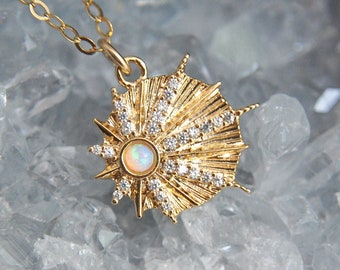 Dainty Opal Star Necklace, Gold Filled Necklace, Shooting Star Necklace, Opal Jewelry, Gold Coin Necklace, Birthstone Necklace,Gifts for Her