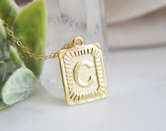 Gold C Initial Necklace, Letter C Necklace, Gold Letter C, Letter Jewelry, Initial Jewelry,Vintage Style,Gold Square Necklace,Gold Medallion