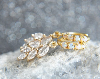 Gold Opal Earrings, Opal Huggie Earrings, Leaf Earrings, Opal Jewelry, October Birthstone, Minimalist Earrings, Bridesmaids Gifts, For Mom