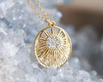 Sunburst Necklace, Solar Necklace, Sun Jewelry, Sunshine Necklace, Celestial Jewelry, Gold Filled Necklace,Girlfriend Gift,Art Deco Necklace