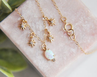 Star Chaser Necklace, Dainty Opal Necklace, Gold Opal Necklace, Galaxy Necklace, Celestial Jewelry, Opal Star Necklace, Birthday Gifts