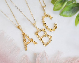 Initial Necklace, Wild Flower Necklace, Floral Wedding, Botanical Jewelry, A-Z Letter Necklace, Gold Letter Necklace, Bridesmaids Gift, Boho