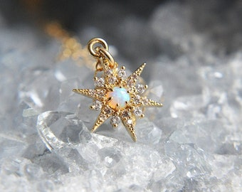 Opal Necklace, Opal Star Necklace, Gold Opal Star Necklace, Star Necklace, Starburst Necklace, North Star Necklace, Small Star Necklace