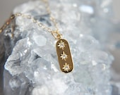 Gold Star Necklace, Star Necklace, Bar Necklace, Triple Star Necklace, Celestial Necklace, Galaxy Necklace, Astronomy Necklace, 3 stars