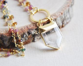 Quartz Necklace, Gold Quartz Necklace, Quartz Point Necklace, Tourmaline Necklace, Rainbow Tourmaline Necklace, Bohemian Necklace, Boho