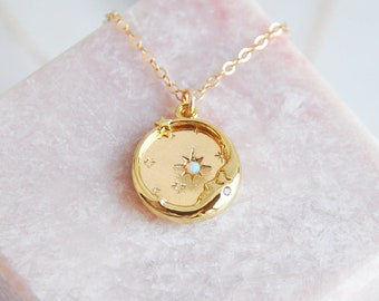 Delicate Gold Moon Necklace, Opal Moon Necklace, Opal Jewelry, Opal Star Necklace, Celestial Jewelry, Girlfriend Gift, Anniversary Gift,