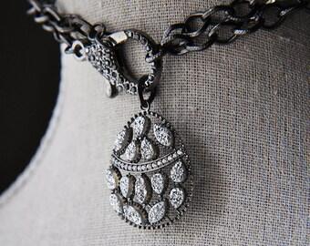 Druzy Necklace, Silver Druzy Necklace, Black Druzy Necklace, Black Necklace, Chain Necklace, CZ Necklace,Crystal necklace,Statement Necklace
