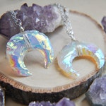 Crescent Moon, Moon Necklace, Angel Aura Moon, Opalite Moon, Birthday Gift, Gifts for Her, Stone Necklace, Birthstone Jewelry, Moon Jewelry