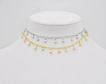 Star Choker, Gold Star Choker, Silver Star Choker, Star Necklace, Star Jewelry, Choker, Short Necklace, Cosmic Necklace, Space Necklace