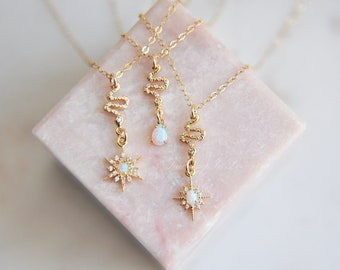 Opal Snake Necklace, Opal Star Necklace, Starburst North Star, October Birthstone, Celestial Jewelry Necklace, Gifts for Her, Gold Filled