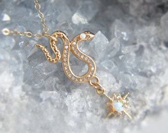 Opal Star Necklace, Opal Snake Necklace, Snake Charmer, Celestial Jewelry, Snake Jewelry, Opal Jewelry, Birthstone Necklace, Gold Filled