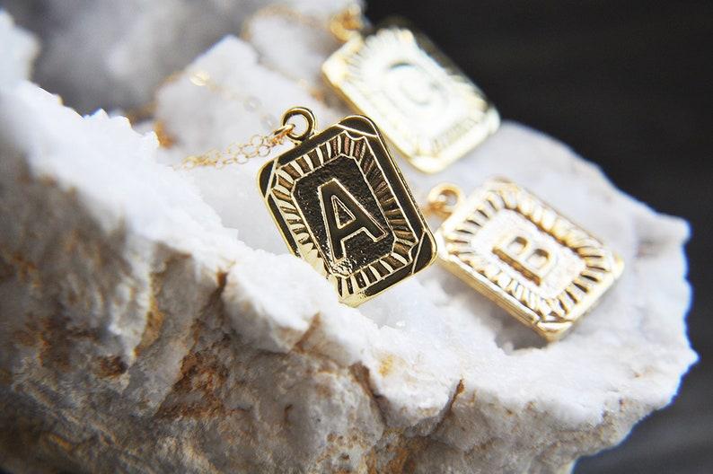 Vintage Style Radiant Necklace,Boho Letter R Jewelry Initial R Necklace R Necklace Letter R Necklace Square Medallion Gold R Necklace