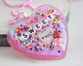Resin Necklace, Resin Heart Necklace, Heart Necklace, Pink Heart Necklace, Pink Glitter Necklace, Pink Necklace,Tooth Necklace,Holo Necklace